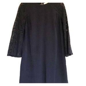 Long Lace Sleeve Loft Navy Dress